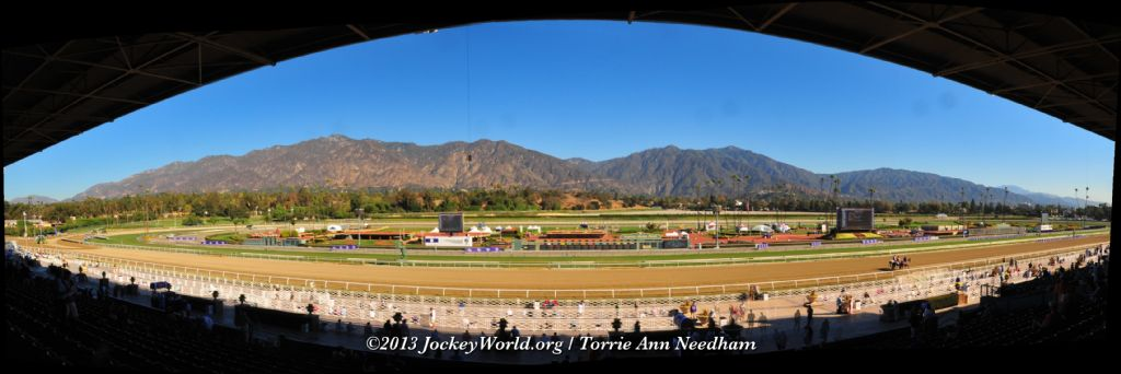 Pan shot of the Beautiful Santa Anita Race Track and the San Gabriel Mountains......